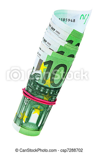 One hundred Euro banknotes roll isolated over white background. - csp7288702