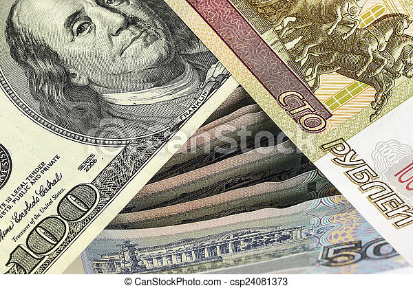 One hundred rubles, and a hundred dollars on Russian banknotes - csp24081373