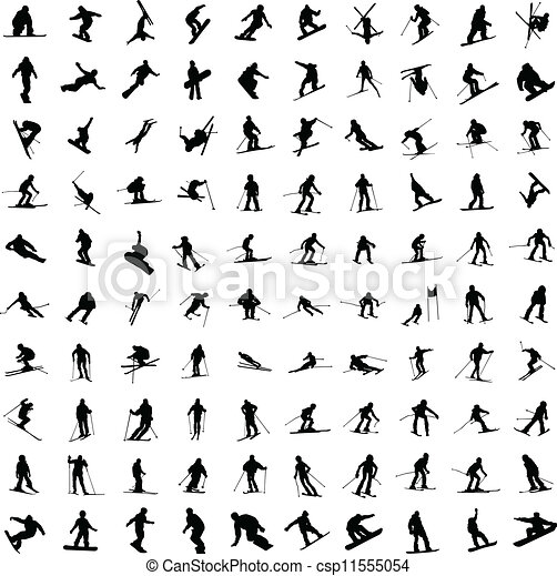 One hundred silhouette of skiers. - csp11555054