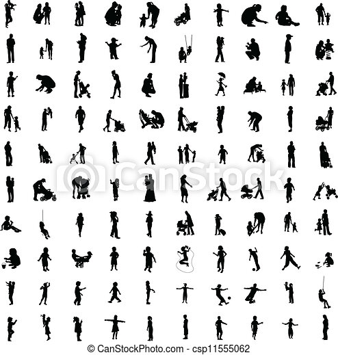 One hundred silhouettes of parent - csp11555062