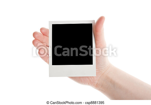 One instant photo in hand - csp8881395