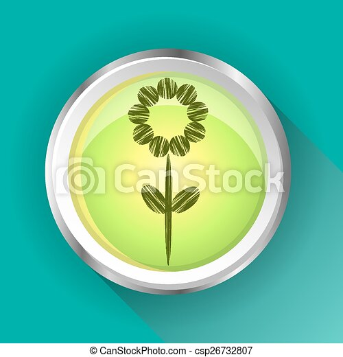 One, isolated, modern, round, green, metal sign, button with flower - csp26732807