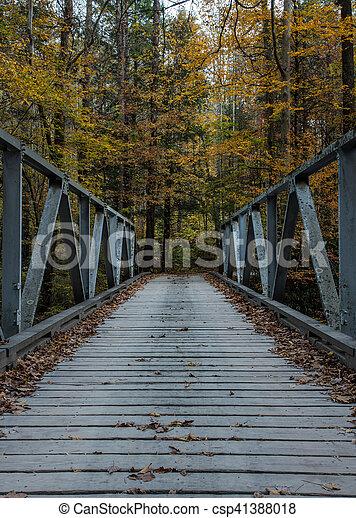 One Lane Bridge in Fall - csp41388018