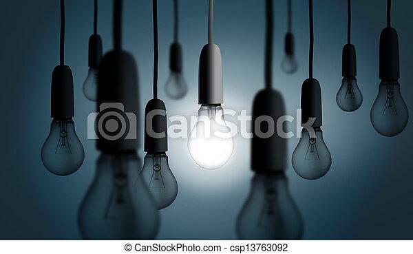 One light bulb lit up - csp13763092