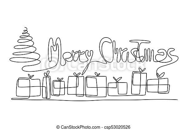 Christmas Card Drawing.One Line Christmas Greeting Card