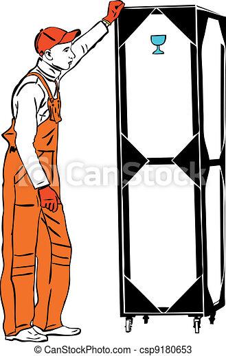 one longshoreman in orange combination holds a box - csp9180653