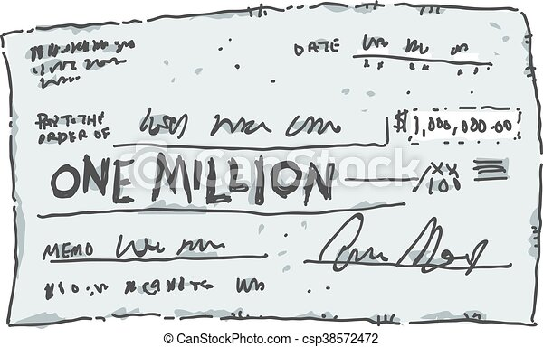 One Million Dollar Check A Cartoon Check Filled Out In The Amount - Check-filled-out