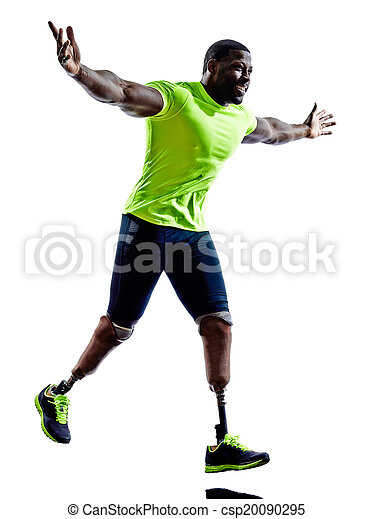 one muscular handicapped man with legs prosthesis in silhouette on white background - csp20090295