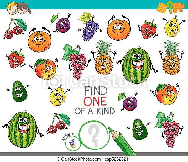 one of a kind activity with fruit characters - csp52628211