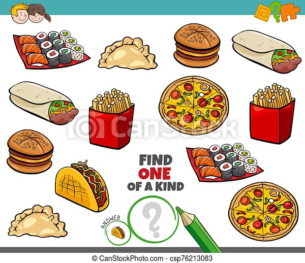 one of a kind game for kids with food objetcs - csp76213083