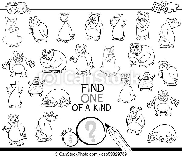 one of a kind game with bears color book - csp53329789