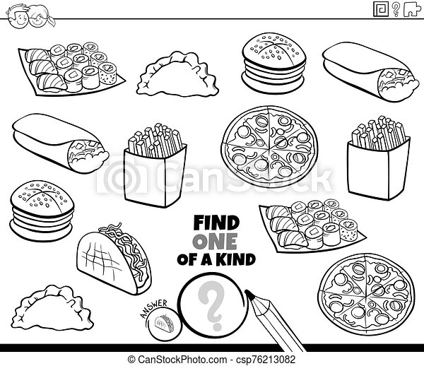 one of a kind game with food color book page - csp76213082