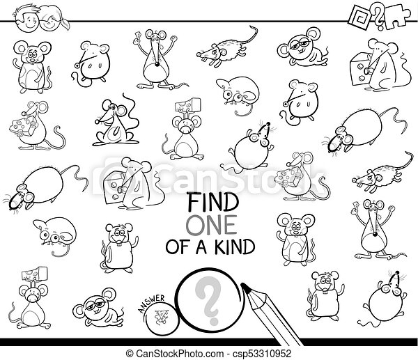 one of a kind game with mice color book black and white