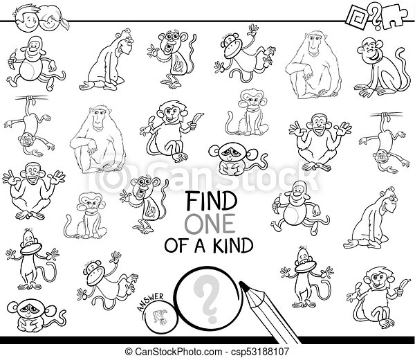 one of a kind game with monkey color book - csp53188107