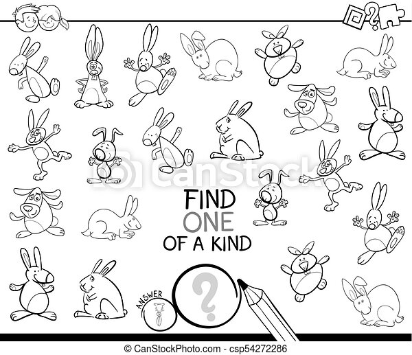 one of a kind game with rabbits coloring book - csp54272286