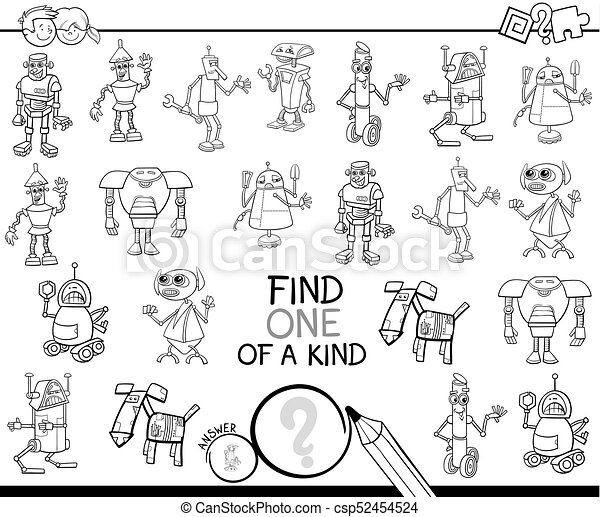 one of a kind game with robots color book - csp52454524