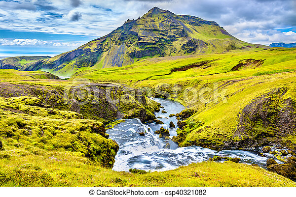 One of numerous waterfalls on the Skoga River - Iceland - csp40321082