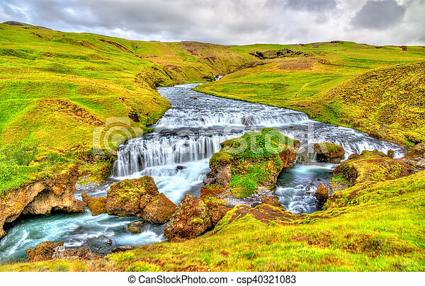 One of numerous waterfalls on the Skoga River - Iceland - csp40321083
