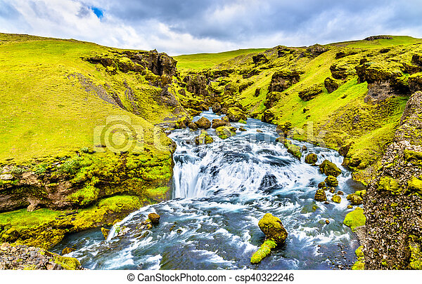 One of numerous waterfalls on the Skoga River - Iceland - csp40322246