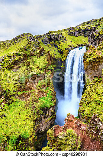 One of numerous waterfalls on the Skoga River - Iceland - csp40298901