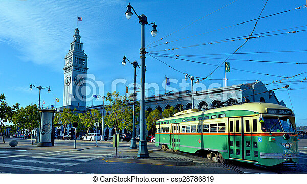 One Of San Franciscos Original Double Ended Pcc Streetcars In San Francisco Ferry Building