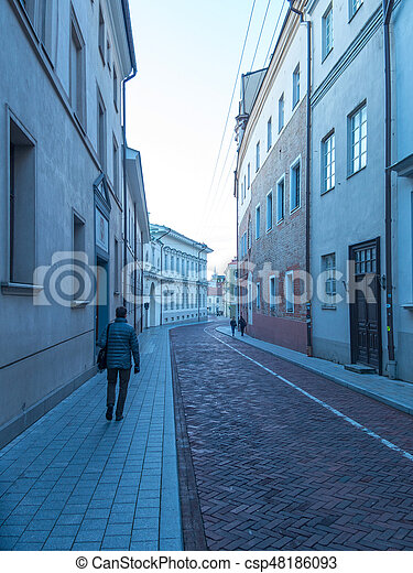 one of the small street in old town - csp48186093