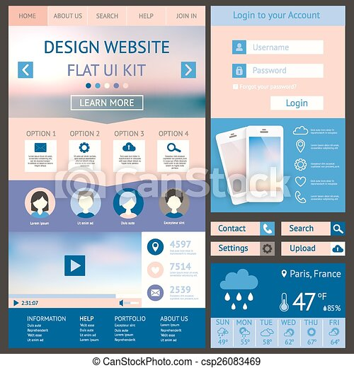 One page website design template flat ui kit all in one set for one page website design template flat ui kit all in one set fo maxwellsz