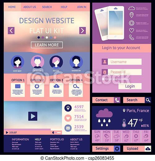 One page website design template flat ui kit all in one set for one page website design template flat ui kit csp26083455 maxwellsz