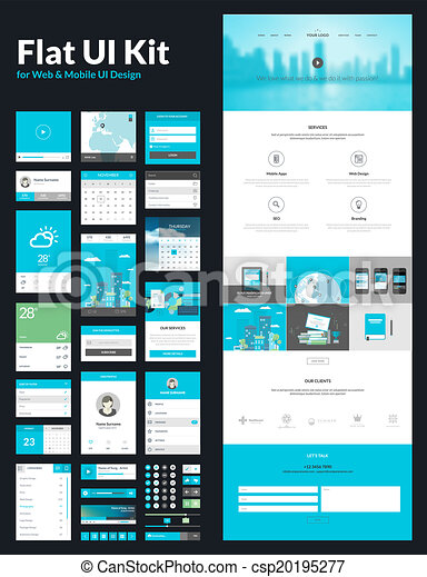 One page website design template. All in one set for website design ...