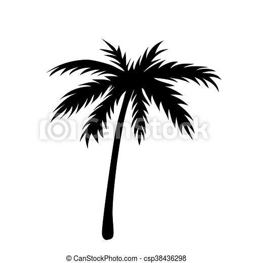 One palm tree outline black coconut tree silhouette isolated on