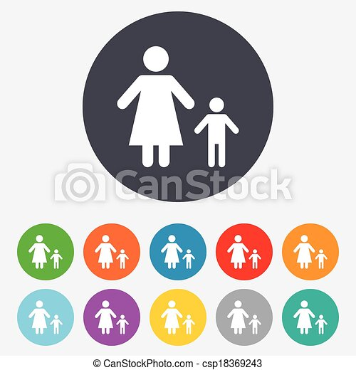 One Parent Family With One Child Sign Icon Mother With Son Symbol