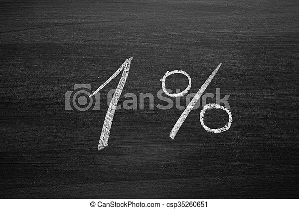 one percent header written with a chalk on the blackboard - csp35260651