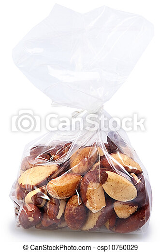 One Pound Bag of Brazil Nuts Over White - csp10750029