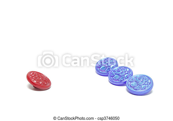 One red button and three blue ones isolated on white background - csp3746050