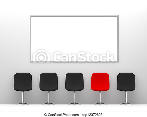 One Red Chair and Four Black Chairs in the White Interior with Billboard on the Wall - csp12372603
