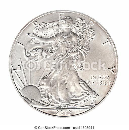 One silver dollar isolated on whiteround - csp14605941