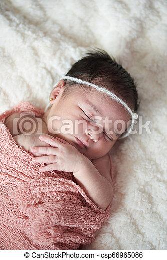 One Sleeping Baby Girl One Sleeping Newborn Baby Girl With Dark Hair Above Top View