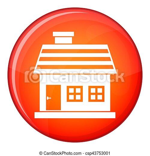 One-storey house icon, flat style - csp43753001