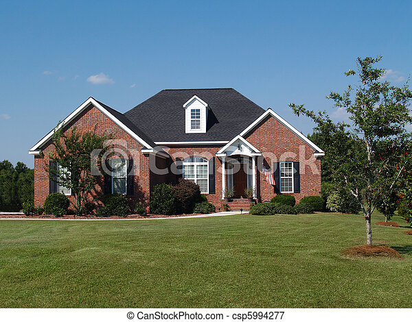 One Story Brick Residential Home One Story New Red Brick
