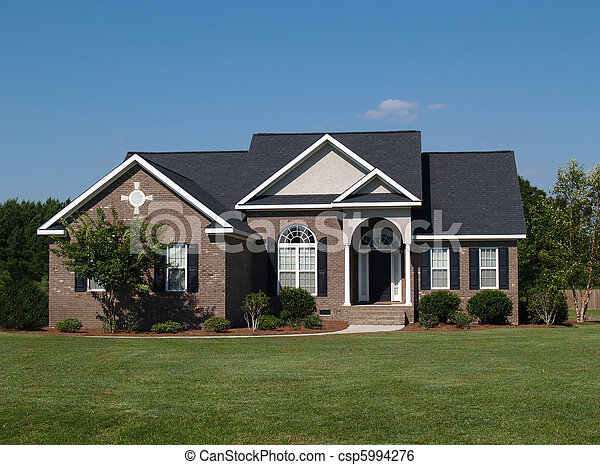 One Story Brick Residential Home Stock Photo