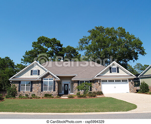One Story Stone Residential Home  - csp5994329