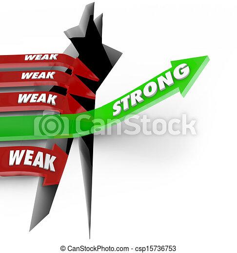 One Strong Arrow Rises Vs Weak Arrows Falling Success Failure - csp15736753