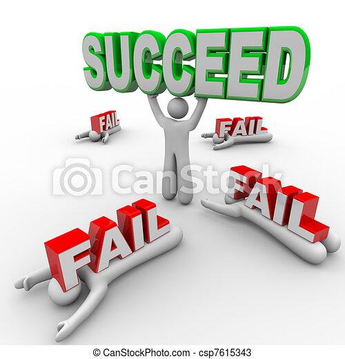 One Successful Person Holds Succeed Word Others Fail - csp7615343