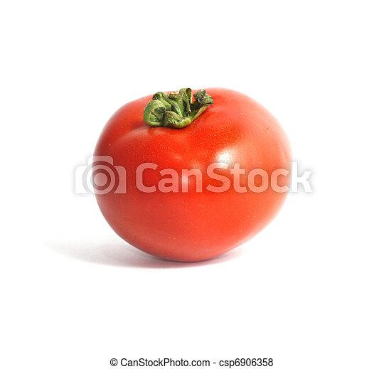 one tomato isolated on white - csp6906358