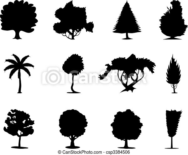 One-ton trees of black colour. A vector illustration - csp3384506