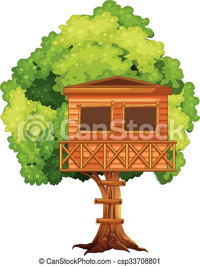 one treehouse in the tree illustration rh canstockphoto com free magic tree house clipart Magic Tree House