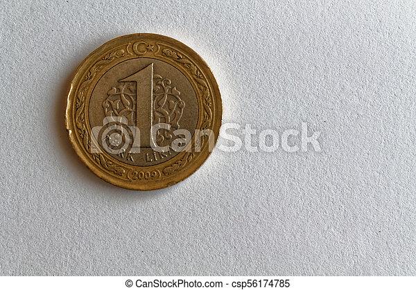 One Turkish coin denomination is 1 lira lie on isolated white background - csp56174785