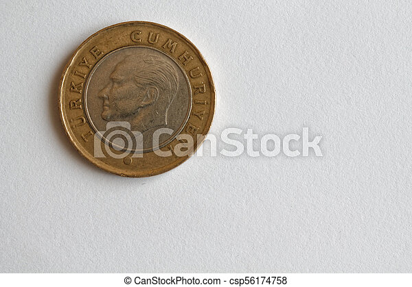 One Turkish coin denomination is 1 lira lie on isolated white background - back side - csp56174758