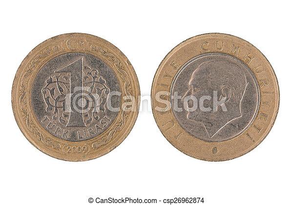 One Turkish lira coin - csp26962874