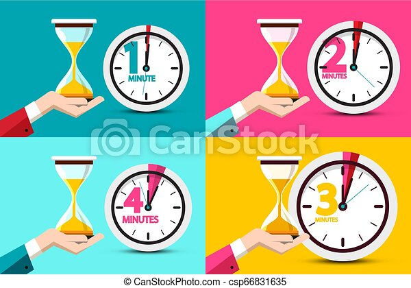 One, Two, Three, Four Minutes Clock Icons. Vector Time Symbol with Hourglass - Sand Clock in Human Hands. - csp66831635